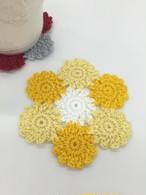 小さなお花のモチーフ編みコースターかぎ針編みキット(毛糸:イエロー系)