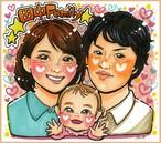 【色紙・A4】3名入り似顔絵 上半身(絵師:YuriA*)