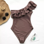 再販【FlamingoBeach】 brown one shoulder monokini