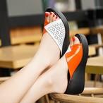 【shoes】ファッション透かし彫り厚底歩きやすい配色スリッパ