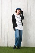 ロングスリーブ Tシャツ メンズ レディース お揃い ペアルック 長袖 COCO CHANCE ビッグ ボックス ロゴ プリント  ギフト アメカジ 5.6オンス | 袖リブ仕様  ホワイト