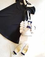 mimi☆フリフリ巾着☆ホワイトツイード×シルバー合皮
