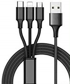 3-in1 マルチUSBケーブル 1.2m(マイクロUSB/iPhone/Type-C)ブラック