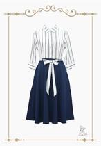 Black Stripes Shirt dress / ストライプ柄シャツドレス。