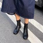 ステッチデザインブーツ バックジップ スクエアトゥ ローヒール 合皮 革 秋冬 防寒 黒 ブラック 茶 ブラウン 大人カジュアル 美脚 脚長 韓国