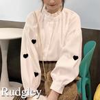 フリル襟 ハート刺繍 シャツブラウス 甘服