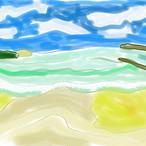 絵画 インテリア アートパネル 雑貨 壁掛け 置物 おしゃれ 風景画 アブストラクトアート  ロココロ 画家 : YUTA SASAKI 作品 : 沖縄の浜辺さん