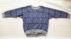 【キルトトレーナー】leaf/ブルー/original textile