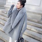 【outer】ラシャコートフェイクファー襟ゆったり防寒レディースコート