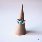 【Chibi jewels】Oval Turquoise Feather Ring