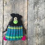 小さな巾着袋 Afghan concho × ponpon (et-12)