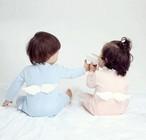 103.天使の羽  ロンパース ♡ スカイブルー ピンク     ベビーちゃん、ベビー君♡ベビー服