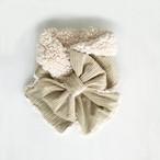 リボンマフラー(シルバーホワイトのコーデュロイ × オフホワイトのプードルファー)