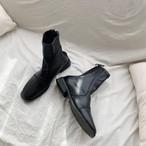 バックジップフラットブーツ ブーツ 韓国ファッション