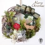 【クリスマス】Merry Christmas2017✳︎ハウス&トナカイ《グリーンシルバー》クリスマスフラワーリース