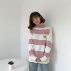 ♡刺繍 タートルネック ニットセーター レディース 秋冬【1065】