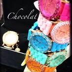 Mサイズ!chocolatオリジナル スワロフスキーウォッチ