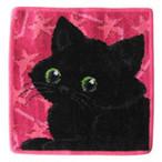 FEILER(フェイラー)  純正ビニール袋付 フェイラー ハンカチ  25cm ブラックキャット 黒猫