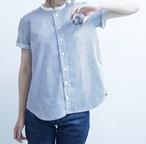 あおいろストライプの立て襟シャツ/半袖/anbaba シャツ