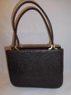 こげ茶オーストリッチのビィンテージバックdark brown ostrich vintage bag (made in Japan)(No1)