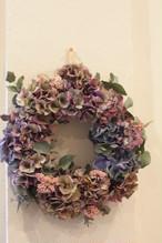 秋色紫陽花のリース