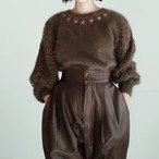 LACE SLEEVE KHAKI MOHAIR KNIT SWEATER.