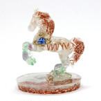 馬型ペリステライト&フローライトオルゴナイト 置物 財運をもたらす馬モチーフ