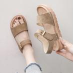 【送料無料】きれいめカジュアル ♡ シンプル ベーシック スエード調 ぺたんこ フラット サンダル シューズ 靴