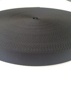 ナイロン  朱子織  25mm幅   黒  5m