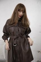 Vegan Leather Belted Long Jacket