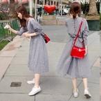 【dress】デートワンピースチェック柄ラウンドネックAラインリボン