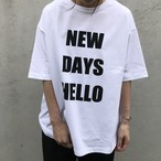 "unscrum ロゴプリントTシャツ ""NEW DAYS HELLO""  BLK【20SS】"
