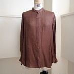 【hippiness】cupro A line shirt (Jacquard5brown)/【ヒッピネス】キュプラ Aライン シャツ(ジャガード5ブラウン)
