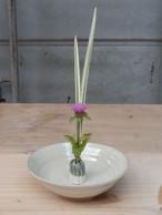 卓上花器 平茶碗形 白釉【青陶舎】