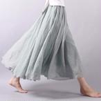 ★大人気★カラーで遊ぶフレアリネンのロングマキシスカート *全20色