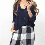 在庫限りSALE!! 開襟/大人キレイメ/シンプルシャツ/ネイビー