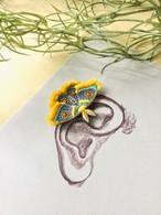 ARRO / 刺繍 / イヤークリップ / ピアス / MOTH / yellow