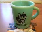 【ミルクガラス製】黒柴コーヒー マグカップ