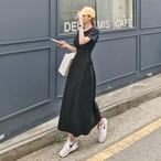 2色 レースアップ ワンピース ロング丈 半袖 ブラック ベージュ レディース ファッション 韓国 オルチャン