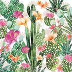 【Paperproducts Design】バラ売り2枚 ランチサイズ ペーパーナプキン CACTUS FANTASY ホワイト