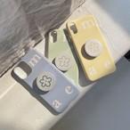 [mucu&ebony] ロゴ ソフト iPhoneケース& flower スマホグリップ セット (Airy Blue) 全5機種