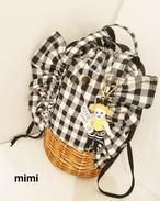 フリフリ巾着☆白黒ギンガムチェック