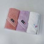 <LifE>ウォッシュタオル3枚セット(サーモンピンク、ラベンダー、オフホワイト)