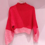 【miss selfredge】 Coral and Red Colour  Block Knitted Jumper