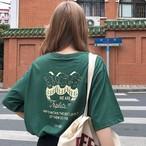 【送料無料】 バックデザインがおしゃれ♡ ゆるカジ メンズライク バックプリント ロゴ オーバーサイズ Tシャツ