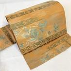 【プチプラ】名古屋帯 開き仕立 やまぶき色花唐草織り出し 六通