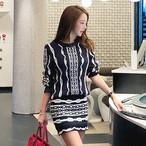 【dress】ストラップ柄トップス+ニットスカートセットアップ