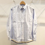 KUON(クオン) 裾襤褸裂き織り ビッグポケットオックスシャツ サックス