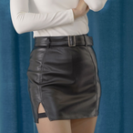 Leather Slit Belt Skirt (Black)
