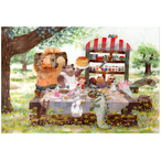 『陽だまりカフェ』 ライオンさんやワニさんお友達皆でピクニック 楽しい気持ちになるぽかぽかイラスト ポストカード